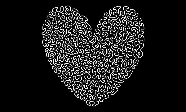 Detail návrhu Ameba tričko bílé srdce