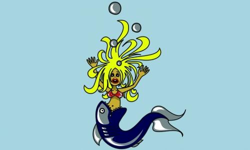Detail návrhu Mořská panna existuje