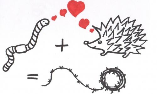 Detail návrhu love - žížala+ježek=ostnatej drát