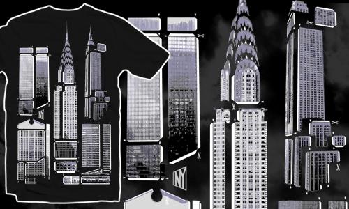 Detail návrhu Vystřihovánka NY city