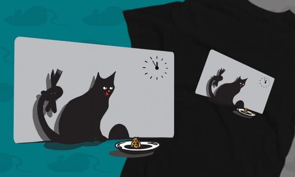 Detail návrhu když kočka chytá myš