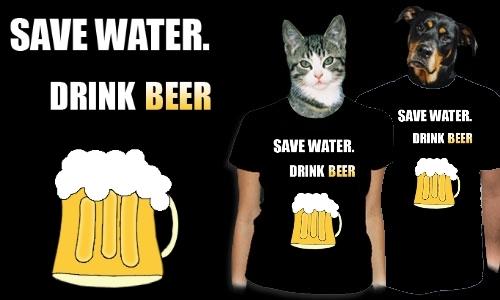 Detail návrhu Save water. Drink beer