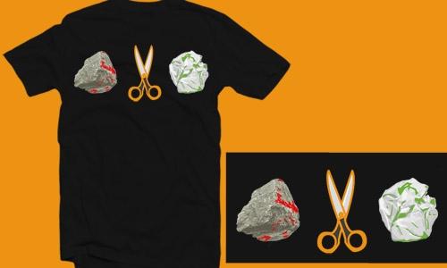 Detail návrhu kámen, nůžky, papír