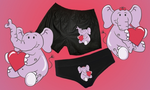 Detail návrhu Zamilovaní sloni