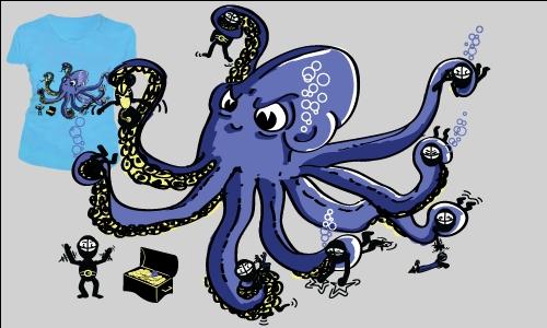 Detail návrhu Naštvaná chobotnice