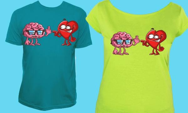 Detail návrhu Mozog a srdce na tričkách