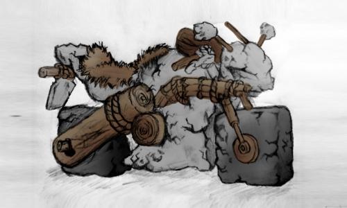Detail návrhu Pravěká motorka - koncept