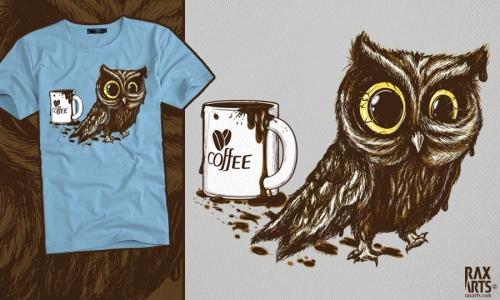 Detail návrhu Sova na kofeinu