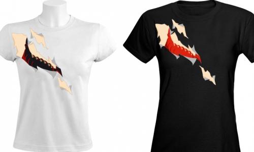 Detail návrhu Podprsenka - Rozpárané tričko