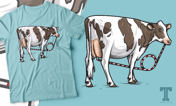 Detail návrhu Cow drink