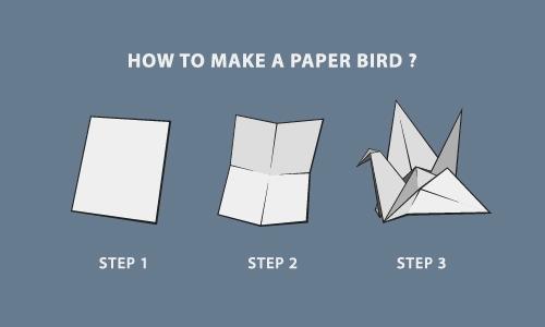 Detail návrhu How to make a paper bird ?