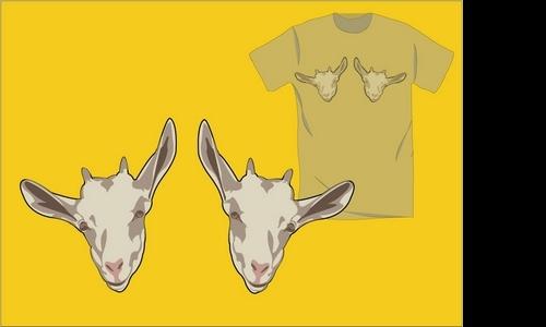 Detail návrhu triko s kozama