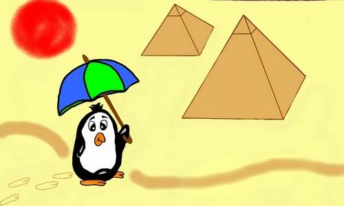 Detail návrhu tučňák na poušti