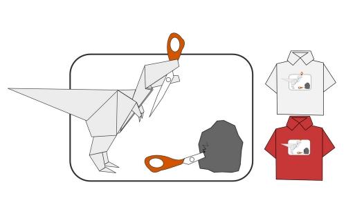 Detail návrhu Kámen,Nůžky,Origami