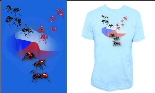 Detail návrhu červení mravenci