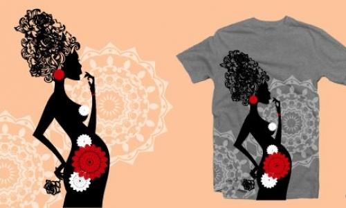 Detail návrhu Pregnant woman in flowers