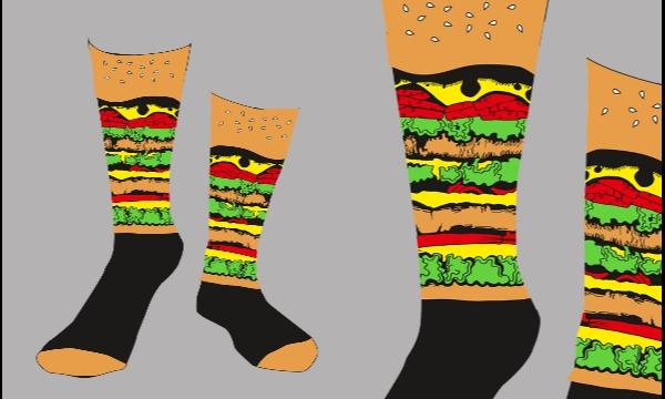 Detail návrhu Návrh na ponožky - hamburger :P