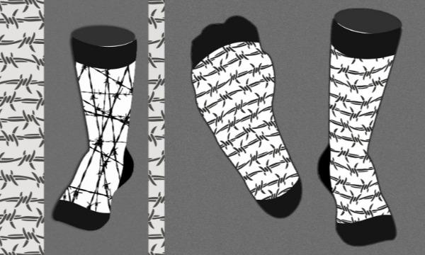 Detail návrhu Ponožky / nožky omotané ostnatým drátem
